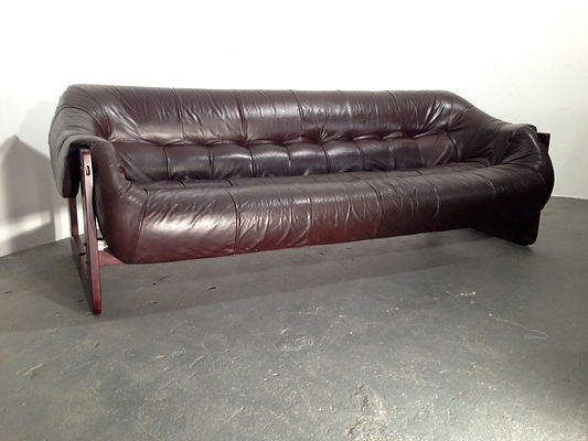 Vintage Percival Lafer Sofa in chocolate brown leather on rosewood frame