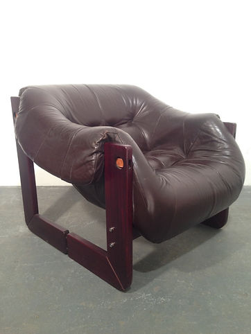 Lafer Leather and Rosewood lounge chair