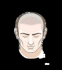 halber Kopf Haarpigmentierung