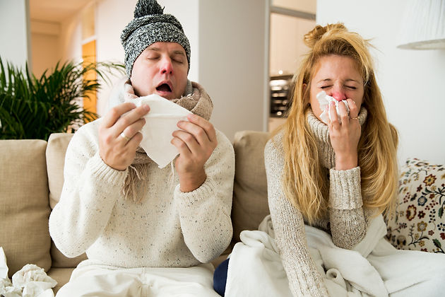 Sick couple catch cold. Man and woman sn