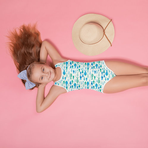 """Fintastic"" All-Over Print Kids Swimsuit"