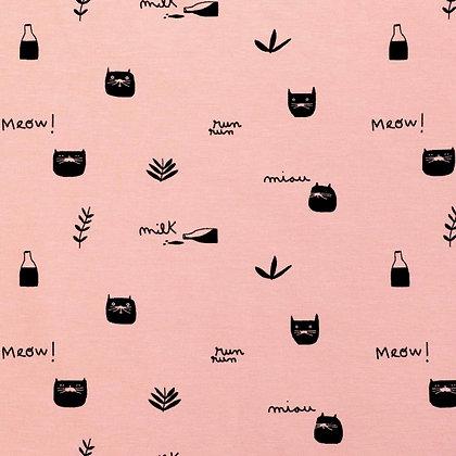 Tela jersey Pink Milk meow