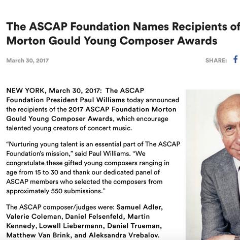 The ASCAP Foundation Names Recipients of 2017 Morton Gould Young Composer Awards (PRESS RELEASE)