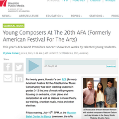 Houston Public Media: Young Composers At The 20th AFA