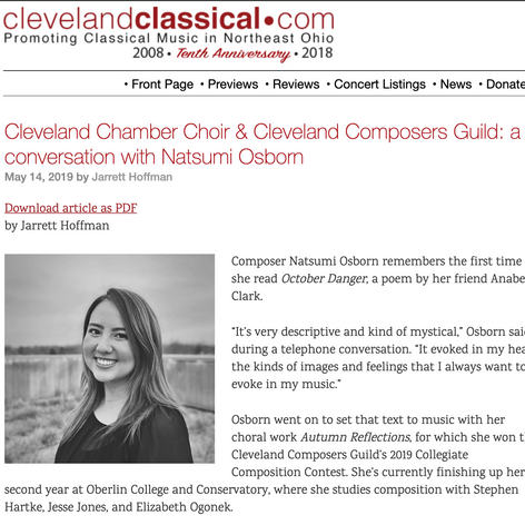 Cleveland Chamber Choir & Cleveland Composers Guild: a conversation with Natsumi Osborn