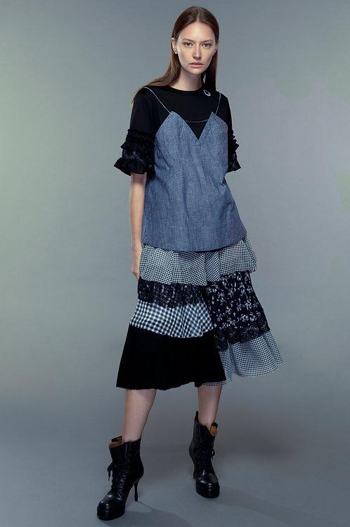 Black denim mixed false camisole top
