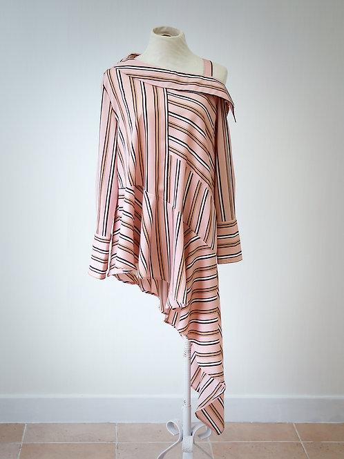 Stripe Asymmetric Draped Shoulder Shirt