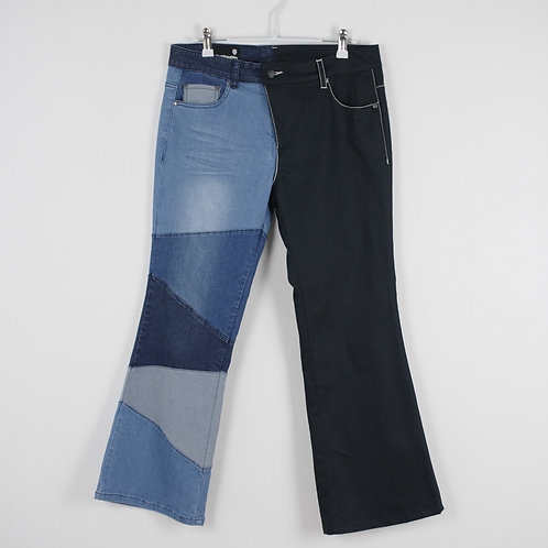 Denim Patched Asymmetric Trousers