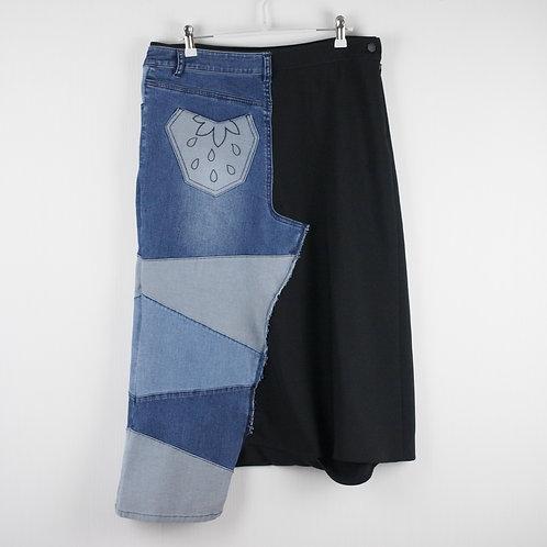 Denim Patched Asymmetric Harem Trousers