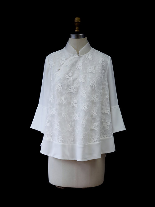 Off White Mandarin collar laced Top