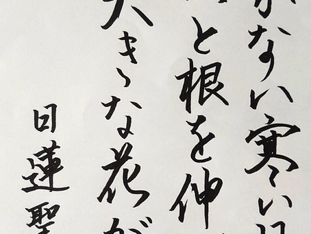 国立の書道教室「墨遊会」木曜日夜の生徒さんたち、今週の作品から!課題は、日蓮聖人の言葉からです!