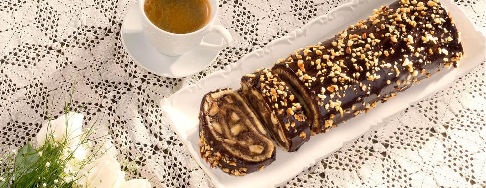 Cake with Chocolate and Bananas