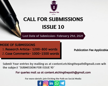 Call for Submissions-Etching the Path, Issue 10 [Submit by February 21st, 2021]