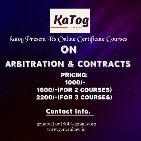 KATOG's online certificate course on Arbitration and Contracts