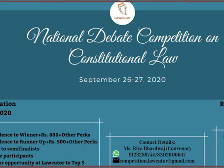Lawcutor brings forth an online National Debate Competition on Constitutional Law (First Edition)