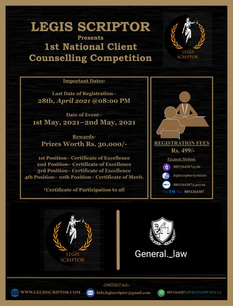 1st National Client Counselling Competition (1st May - 2nd May 2021)