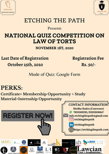 NATIONAL QUIZ COMPETITION ON LAW OF TORTS