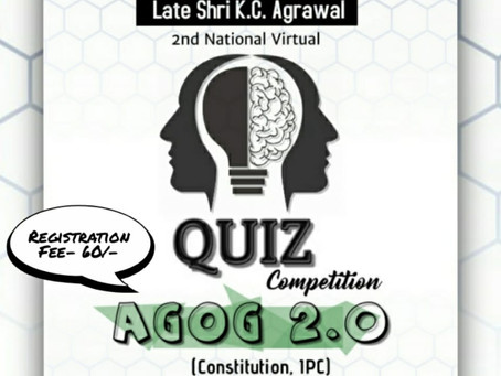 AGOG-2021 2nd National Virtual Law Quiz Competition by Institute of Law , Jiwaji University, Gwalior