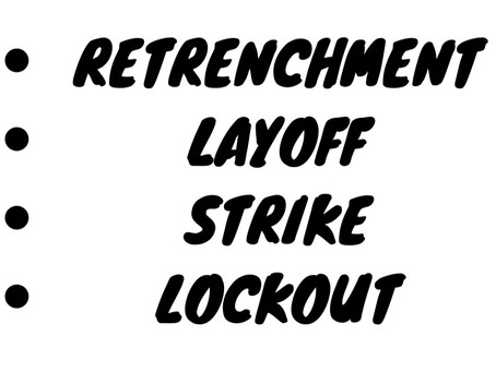 EXPLAIN RETRENCHMENT , LAYOFF , STRIKE AND LOCKOUT