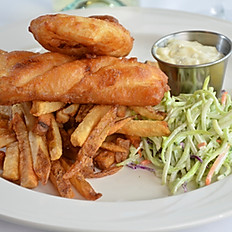 KULSHAN AMBER ALE BEER BATTERED HALIBUT AND HOUSE CUT FRIES