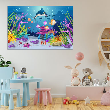 """""""WENS """"""""Marine World"""""""" Self Adhesive Wall Poster for Home Decor(Vinyl, 24 x 36"""
