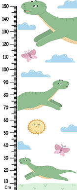WENS Dinosaur Height Measurement Removable Wall Sticker