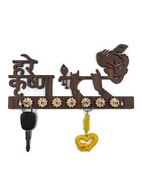 """WENS """"HARE KRISHNA"""" Wooden 7 Hooks Key Holder - Brown"""