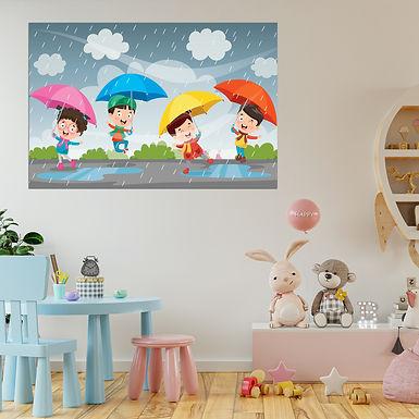 """WENS """"Children Masti In Rain"""" Self Adhesive Wall Poster for Home Decor(Vinyl,"