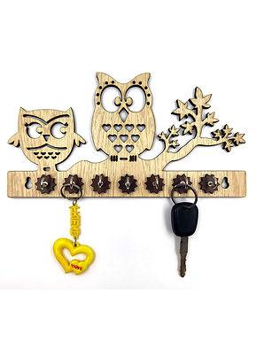 "WENS ""OWL ON BRANCH"" Wooden 7 Hooks Key Holder - Cream Brown"