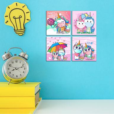 "WENS ""CUTE CARTOON UNICORN"" Set of 4 Sparkle Laminated Wall Panels For Kids"