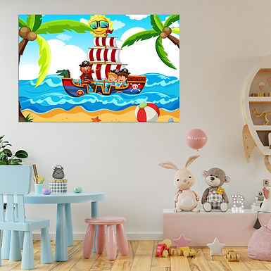 """""""WENS """""""" Pirate Ship"""""""" Self Adhesive Wall Poster for Home Decor(Vinyl, 24 x 36)"""