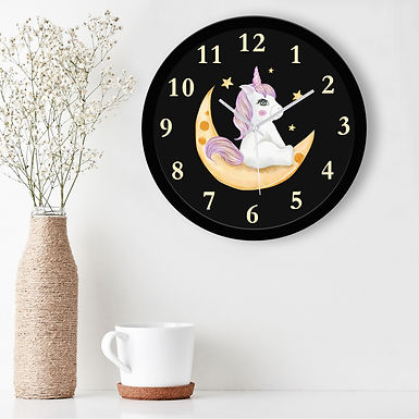WENS Unicorn Moon Ride Silent Non-Ticking Battery Operated Kids Wall Clock