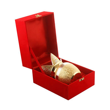 WENS Gold Plated Puja Kalash with Mango Leaves And Coconut Packed in Velvet Box
