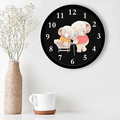 WENS Cute Pigs Silent Non-Ticking Battery Operated Kids Wall Clock