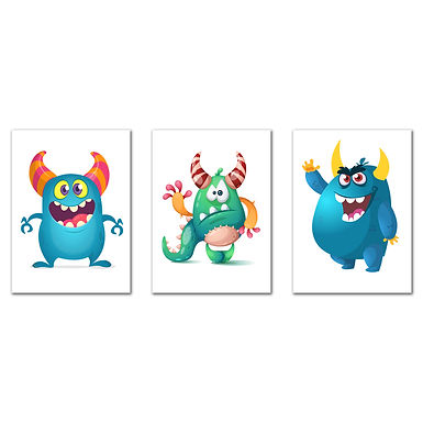 """WENS """"Lovely Monsters""""  Set of 3 Sparkle Laminated Kids Wall Panels (61 x 28 cm)"""