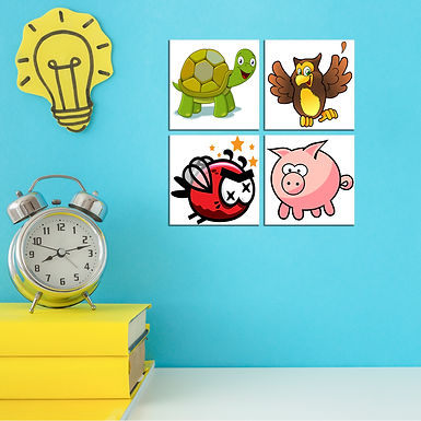 """WENS """"Animals Nursery"""" Set of 4 Sparkle Laminated Wall Panels For Kids"""