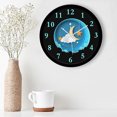 WENS Beautiful Sky Silent Non-Ticking Battery Operated Kids Wall Clock