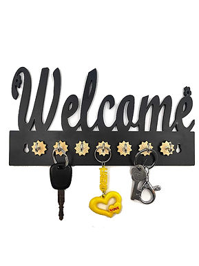 "WENS ""Decorative Welcome"" Wooden 7 Hooks Key Holder - Black"
