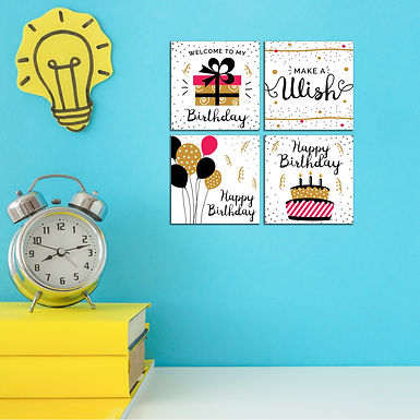 """WENS """"BIRTHDAY WISHES """" Set of 4 Sparkle Laminated Wall Panels For Kids"""