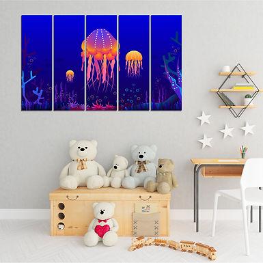 """WENS """" Shiny Jelly Fish """" 5 Panels Velvet Laminated Wall Art  (101.5 x 61 cm)"""