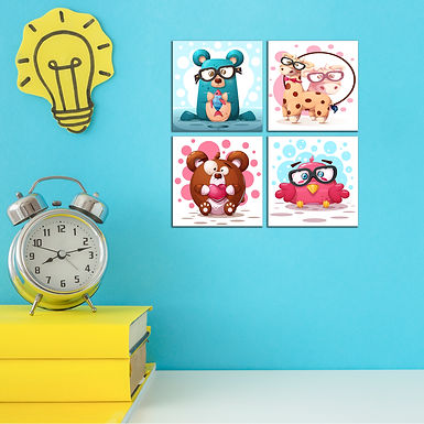 """WENS """"CUTE ANIMAL CARTOON"""" Set of 4 Sparkle Laminated Wall Panels For Kids"""