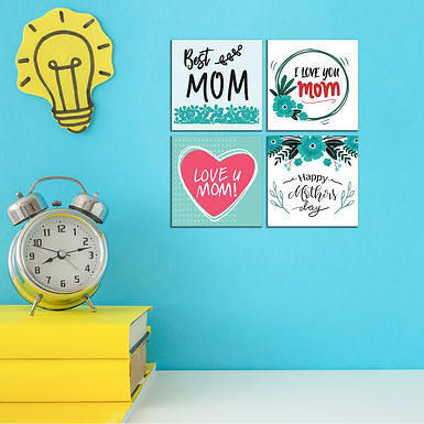 """WENS """"LOVE YOU MOM"""" Set of 4 Sparkle Laminated Wall Panels For Kids"""