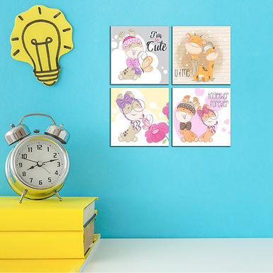 """WENS """"CUTE CARTOON"""" Set of 4 Sparkle Laminated Wall Panels For Kids"""