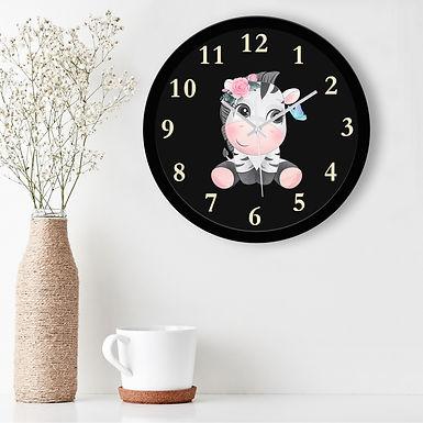 WENS Cute Zebra Silent Non-Ticking Battery Operated Kids Wall Clock