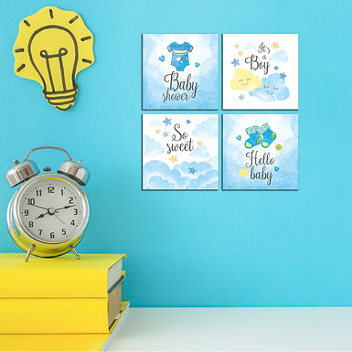"""WENS """"IT'S BABY BOY"""" Set of 4 Sparkle Laminated Wall Panels For Kids"""