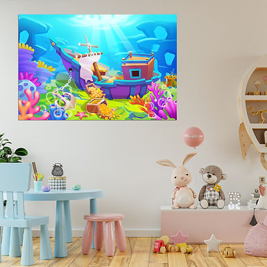 """""""WENS """"""""Undersea Treasure"""""""" Self Adhesive Wall Poster for Home Decor(Vinyl, 24 x"""