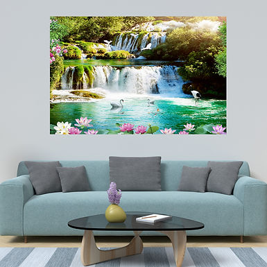 """""""WENS """"""""Waterfall Good Fortune"""""""" Self Adhesive Wall Poster for Home Decor(Vinyl,"""