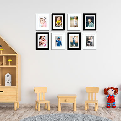 """Wens Synthetic Wood  Wall Mounted Frames  - Displays Eight 5""""x7"""" Inch photos- Bl"""