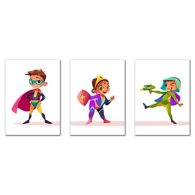 """WENS """"Little Super Hero's""""  Set of 3 Sparkle Laminated Kids Wall Panels (61 x 28"""