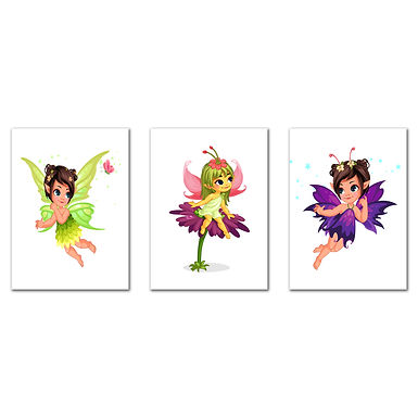 """WENS """" Lovely Fairy""""  Set of 3 Sparkle Laminated Kids Wall Panels (61 x 28 cm)"""